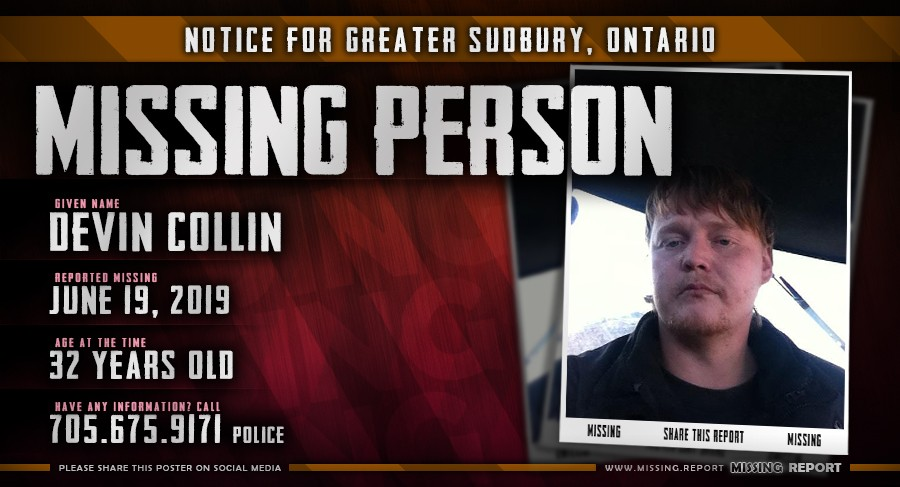 Devin Collin - Missing Person - Greater Sudbury Ontario Canada Poster